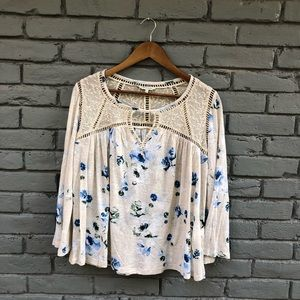Lucky Brand Cream Floral Bell Sleeve Swing Top S